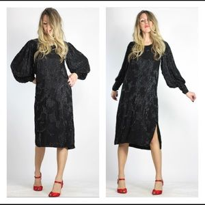 Vintage 80s Amazing Black Beaded Silk Tunic Dress